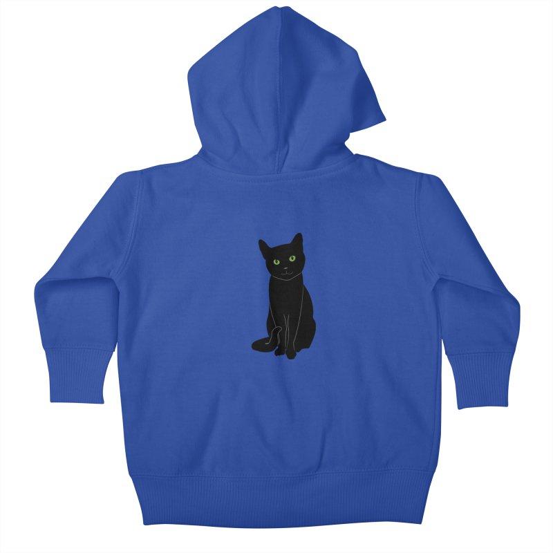 Black Cat with Green Eyes Kids Baby Zip-Up Hoody by buxmontweb's Artist Shop
