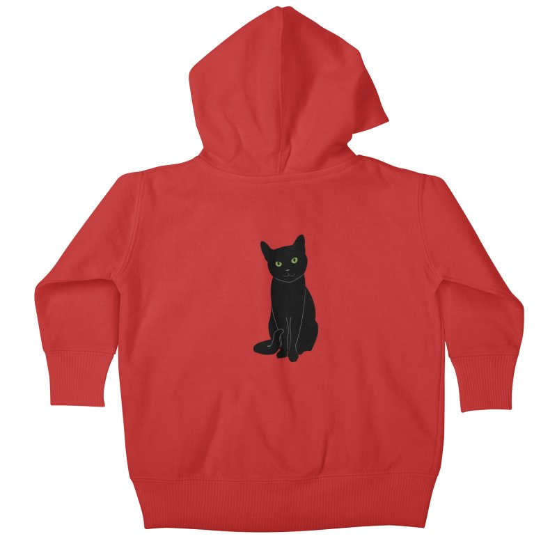 Black Cat with Green Eyes Kids Baby Zip-Up Hoody by buxmontweb's Artist Shop