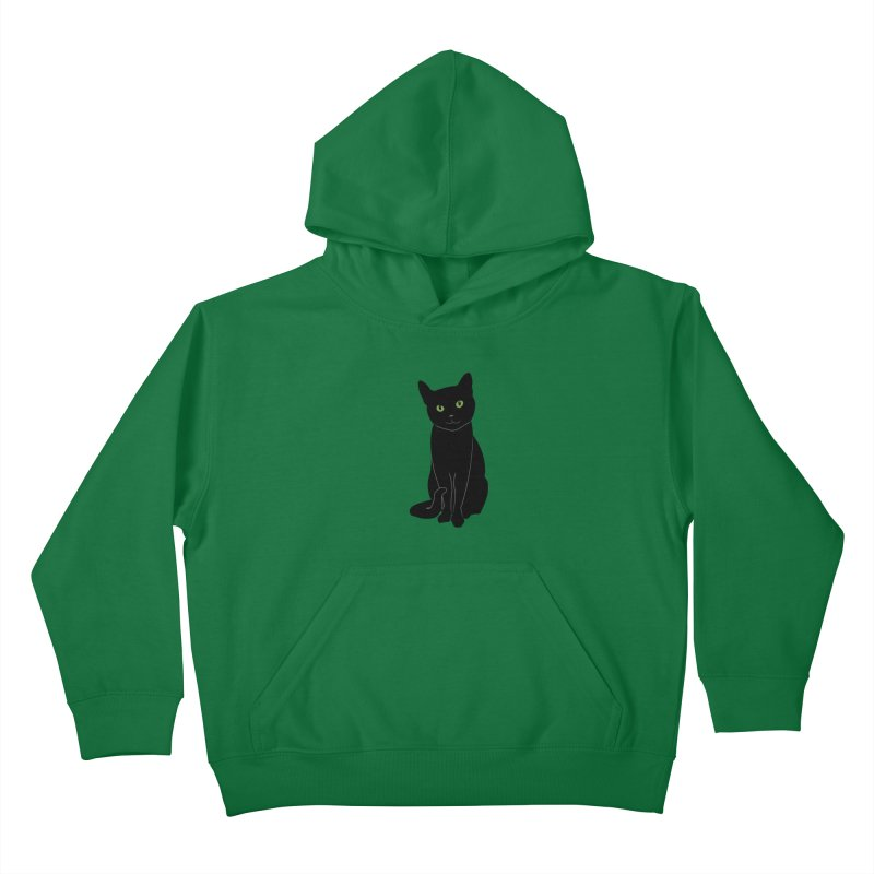 Black Cat with Green Eyes Kids Pullover Hoody by buxmontweb's Artist Shop