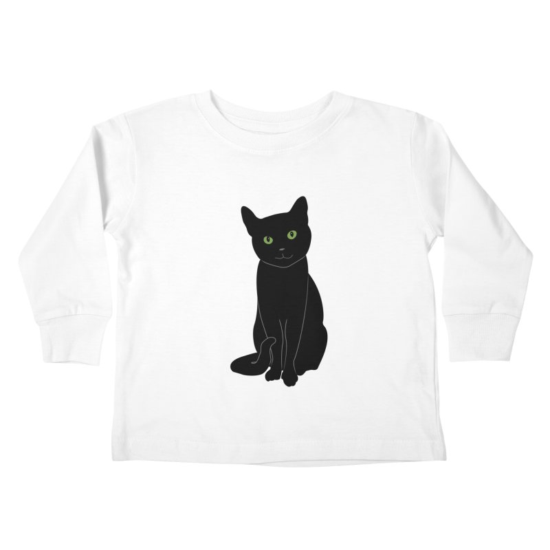Black Cat with Green Eyes Kids Toddler Longsleeve T-Shirt by buxmontweb's Artist Shop