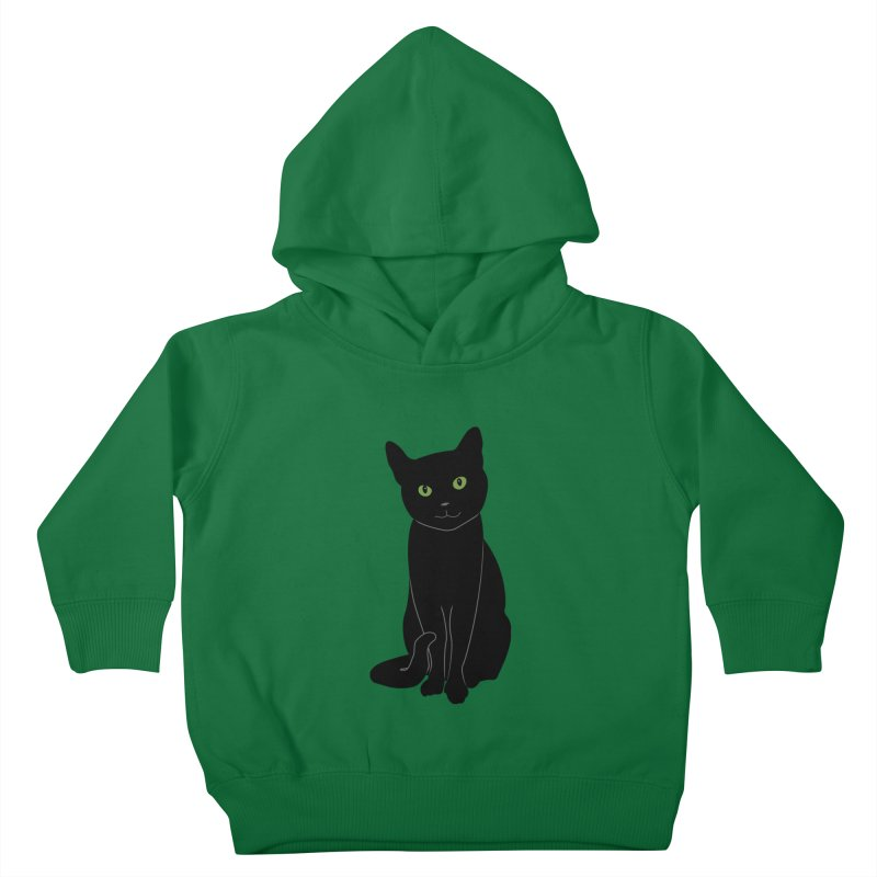 Black Cat with Green Eyes Kids Toddler Pullover Hoody by buxmontweb's Artist Shop