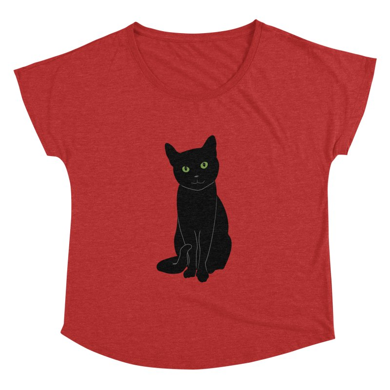 Black Cat with Green Eyes Women's Dolman Scoop Neck by buxmontweb's Artist Shop
