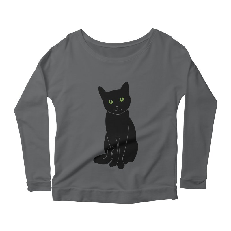 Black Cat with Green Eyes Women's Scoop Neck Longsleeve T-Shirt by buxmontweb's Artist Shop