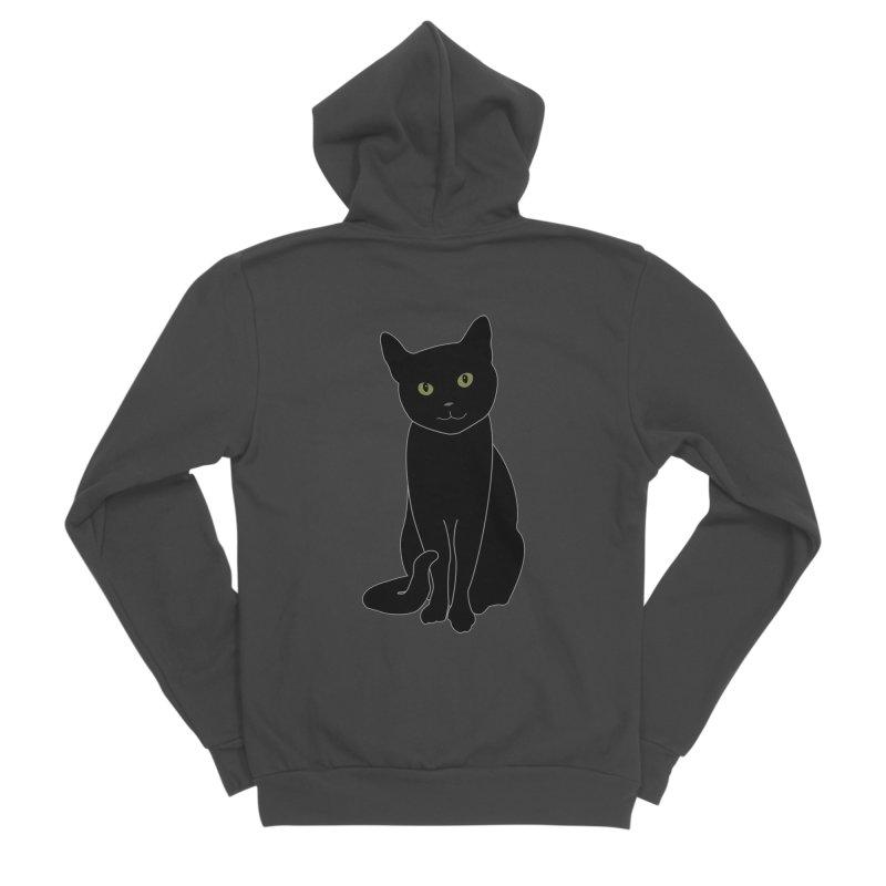Black Cat with Green Eyes - Dark Apparel Men's Sponge Fleece Zip-Up Hoody by buxmontweb's Artist Shop