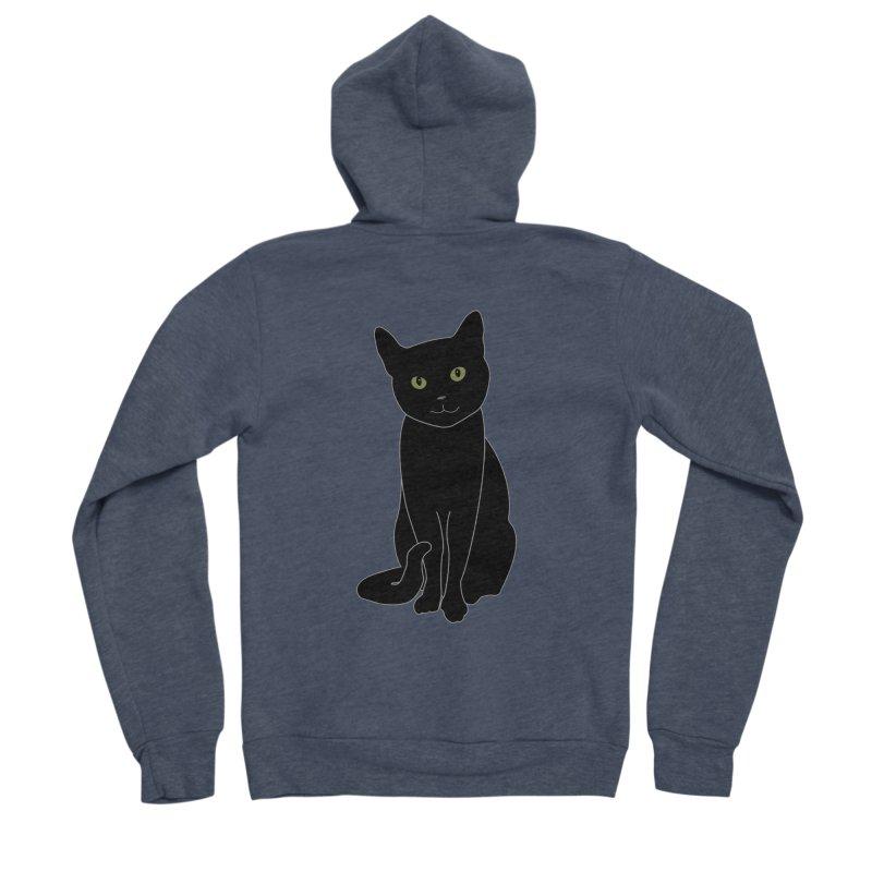 Black Cat with Green Eyes - Dark Apparel Women's Sponge Fleece Zip-Up Hoody by buxmontweb's Artist Shop