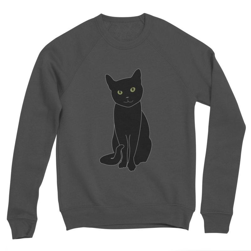 Black Cat with Green Eyes - Dark Apparel Women's Sponge Fleece Sweatshirt by buxmontweb's Artist Shop