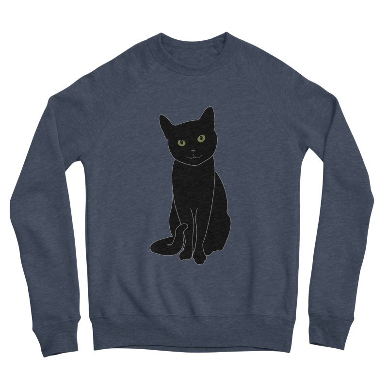 Black Cat with Green Eyes - Dark Apparel Men's Sponge Fleece Sweatshirt by buxmontweb's Artist Shop