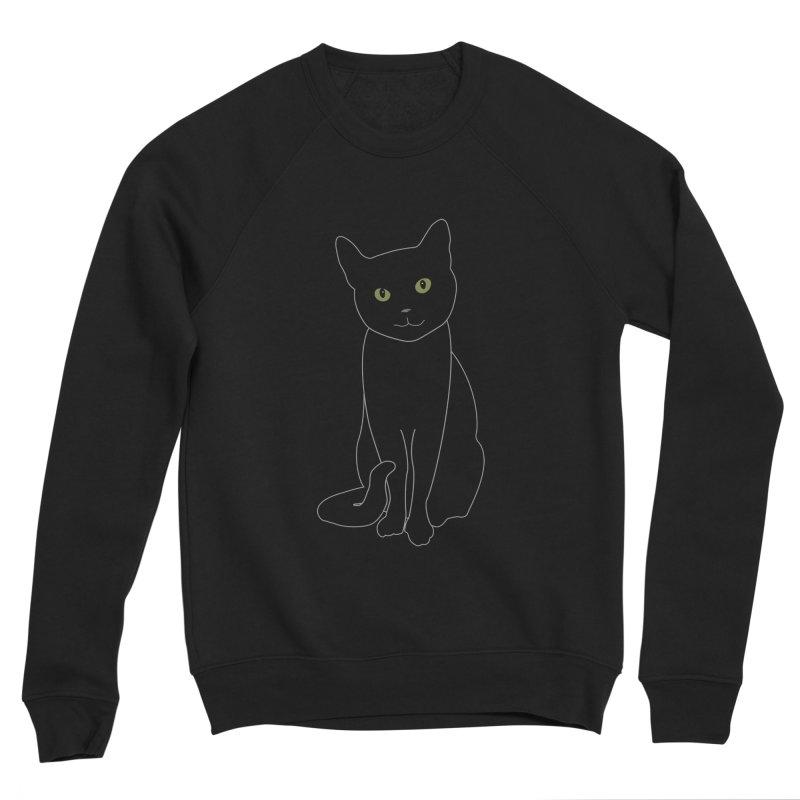 Black Cat with Green Eyes - Dark Apparel Men's Sweatshirt by buxmontweb's Artist Shop