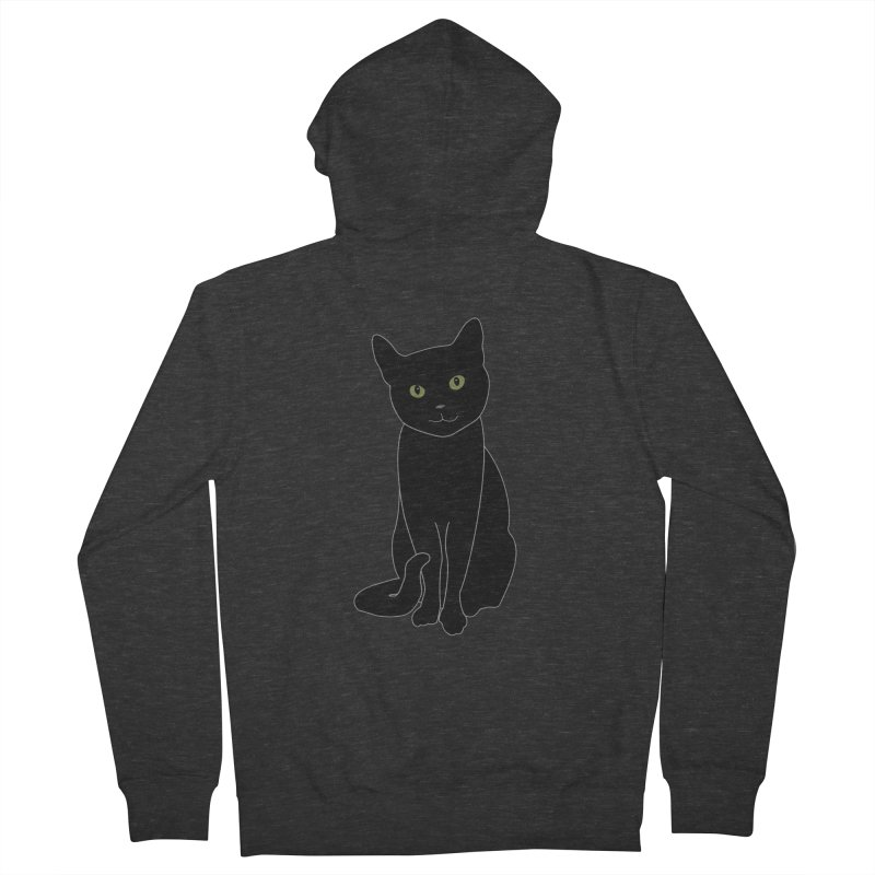 Black Cat with Green Eyes - Dark Apparel Women's French Terry Zip-Up Hoody by buxmontweb's Artist Shop