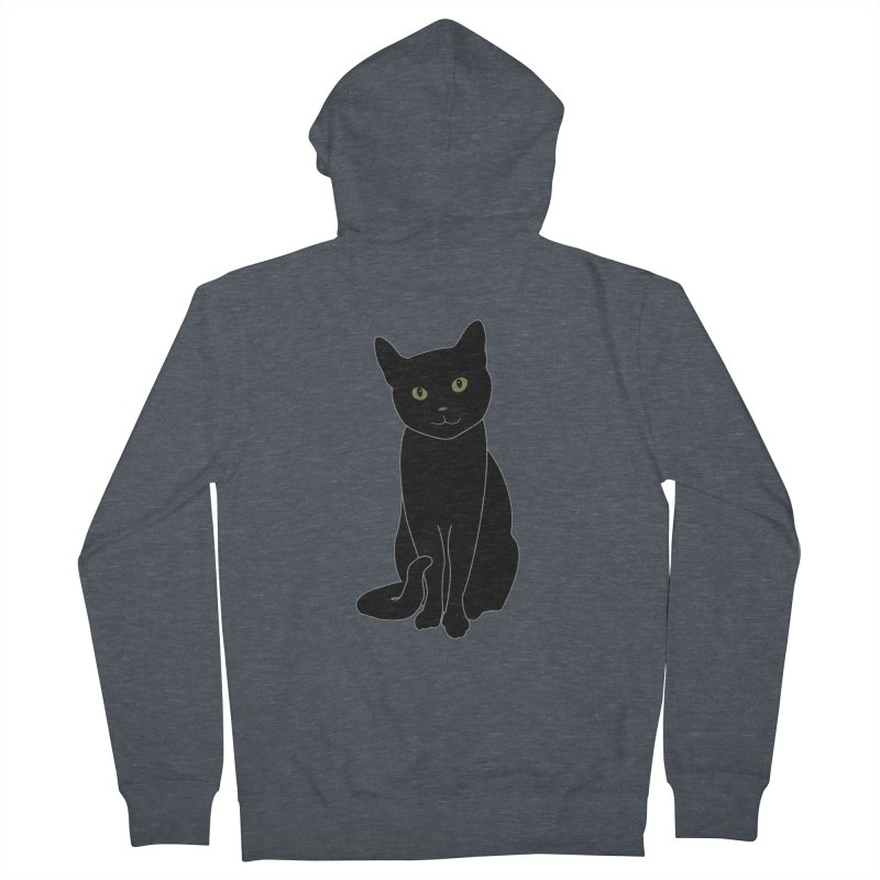 Black Cat with Green Eyes - Dark Apparel Men's French Terry Zip-Up Hoody by buxmontweb's Artist Shop
