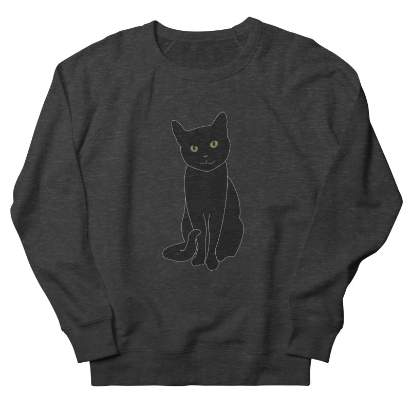 Black Cat with Green Eyes - Dark Apparel Women's French Terry Sweatshirt by buxmontweb's Artist Shop