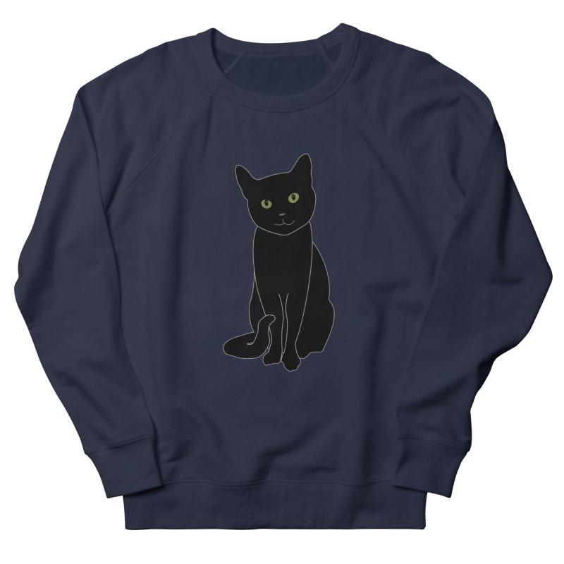 Black Cat with Green Eyes - Dark Apparel Women's French Terry Sweatshirt by buxmontweb's Artist Shop
