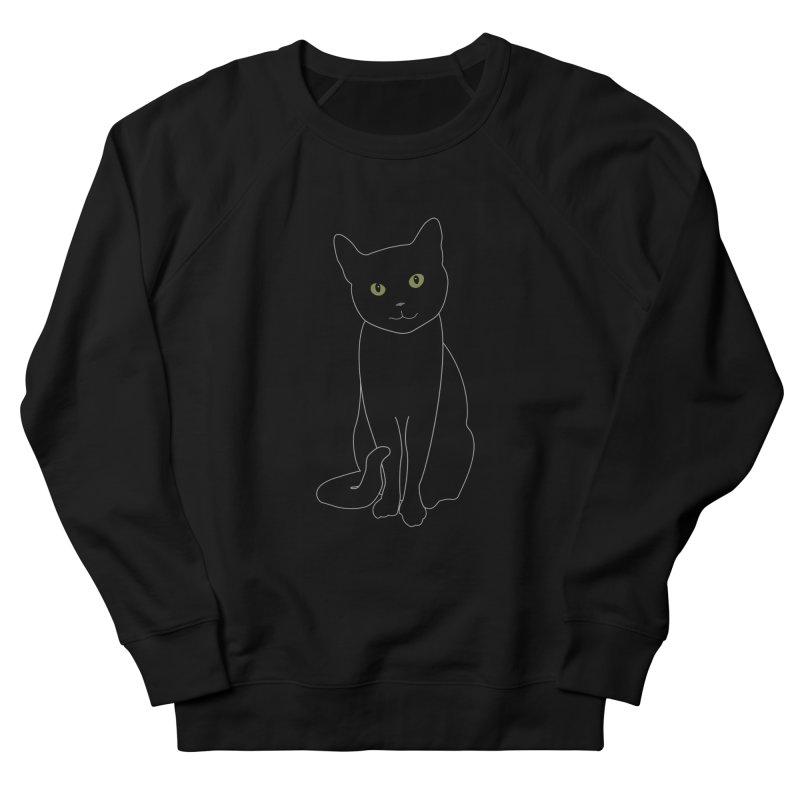 Black Cat with Green Eyes - Dark Apparel Men's French Terry Sweatshirt by buxmontweb's Artist Shop