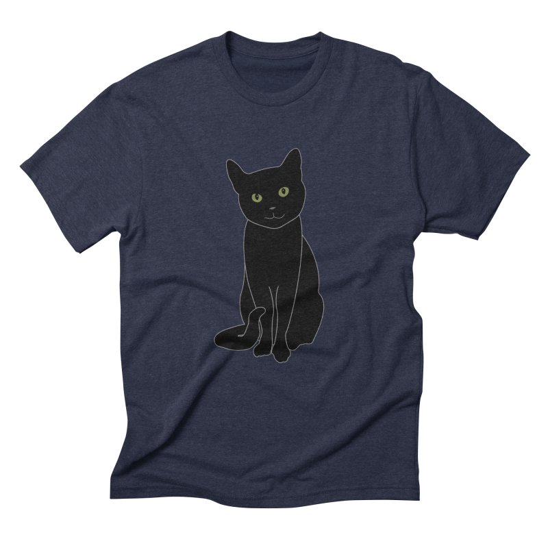 Black Cat with Green Eyes - Dark Apparel Men's Triblend T-Shirt by buxmontweb's Artist Shop