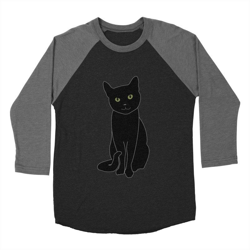 Black Cat with Green Eyes - Dark Apparel Men's Baseball Triblend Longsleeve T-Shirt by buxmontweb's Artist Shop