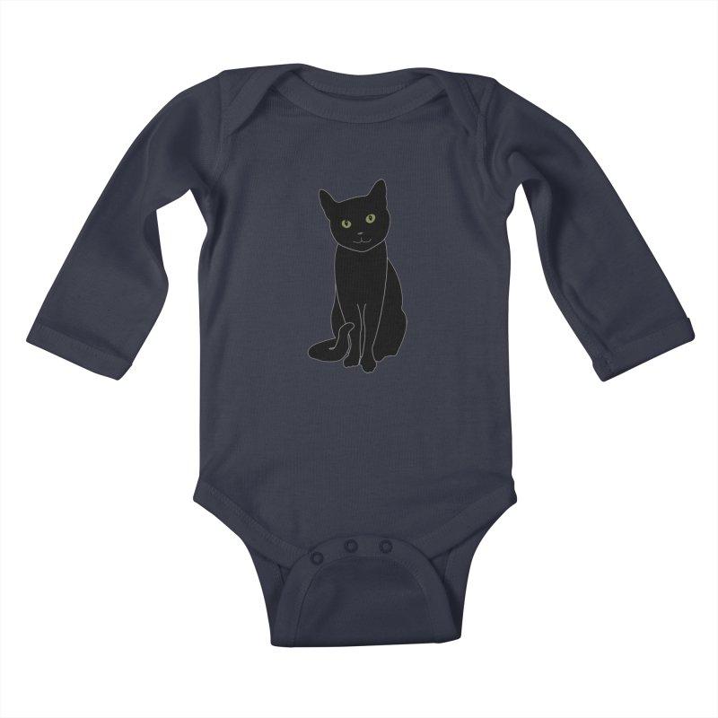 Black Cat with Green Eyes - Dark Apparel Kids Baby Longsleeve Bodysuit by buxmontweb's Artist Shop