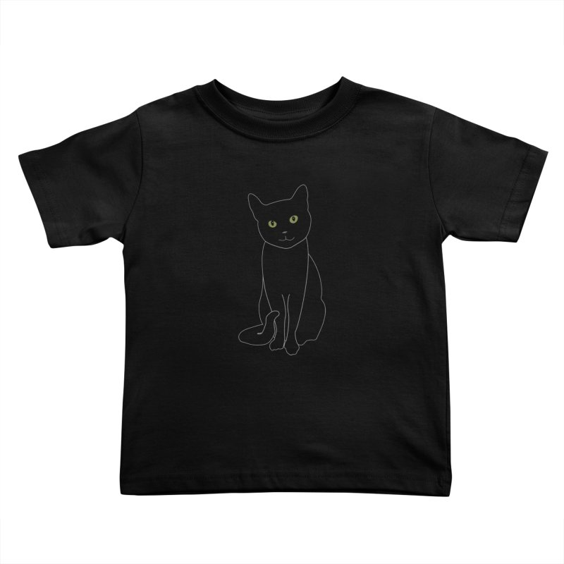 Black Cat with Green Eyes - Dark Apparel Kids Toddler T-Shirt by buxmontweb's Artist Shop