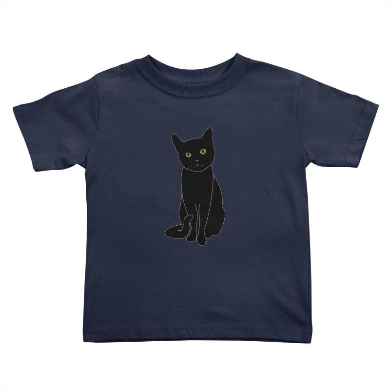 Black Cat with Green Eyes - Dark Apparel Kids Toddler T-Shirt by buxmontweb's Artist Shop