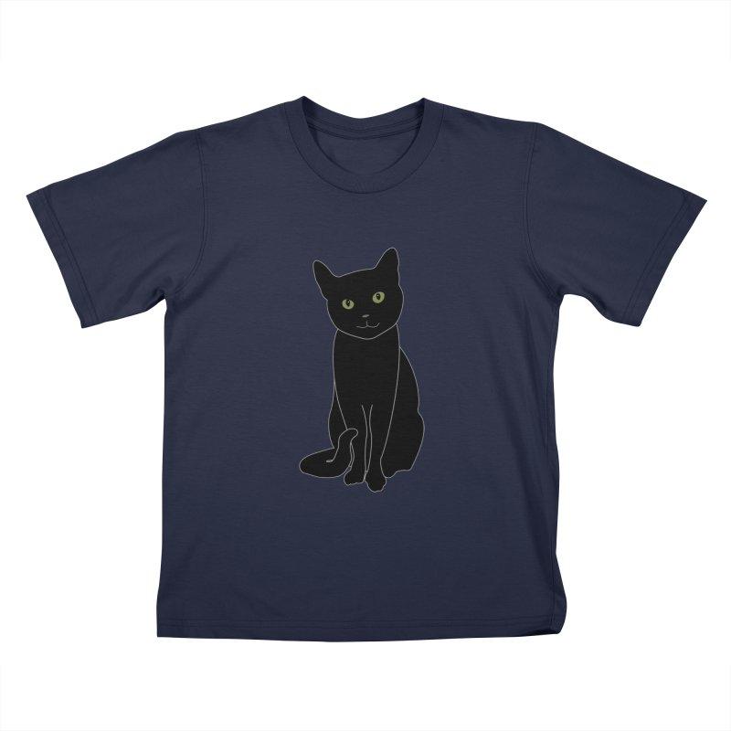 Black Cat with Green Eyes - Dark Apparel Kids T-Shirt by buxmontweb's Artist Shop