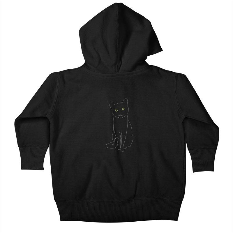 Black Cat with Green Eyes - Dark Apparel Kids Baby Zip-Up Hoody by buxmontweb's Artist Shop