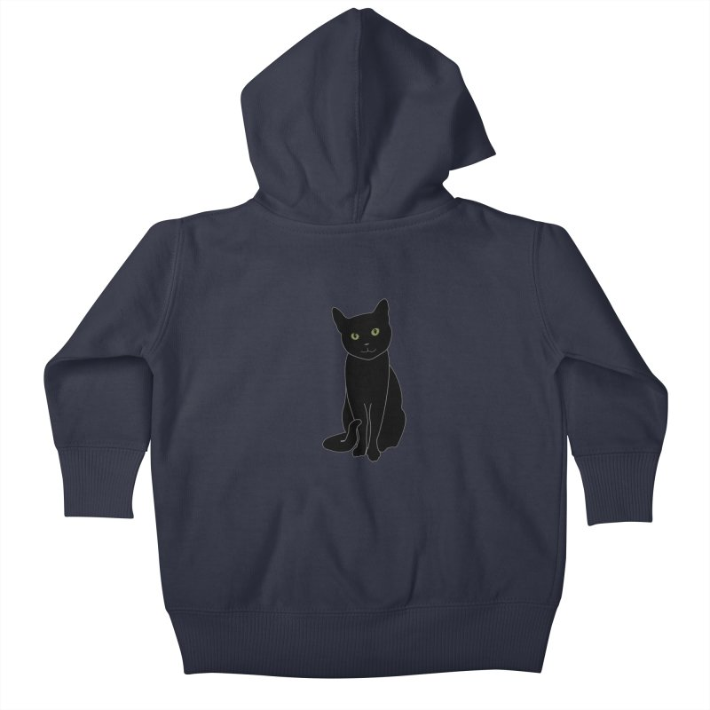 Black Cat with Green Eyes - Dark Apparel Kids Baby Zip-Up Hoody by buxmontweb's Artist Shop