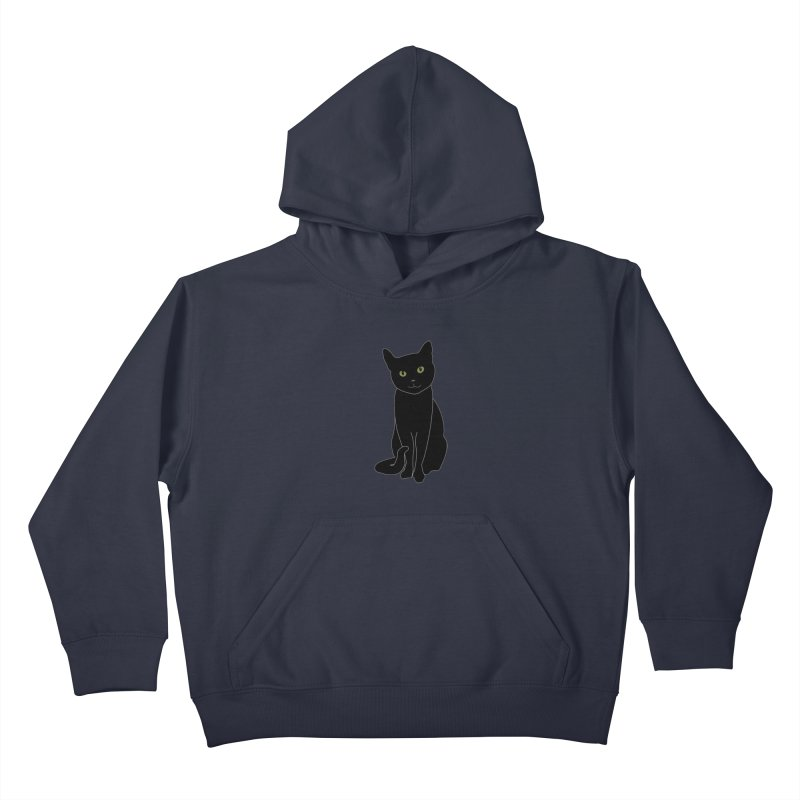 Black Cat with Green Eyes - Dark Apparel Kids Pullover Hoody by buxmontweb's Artist Shop