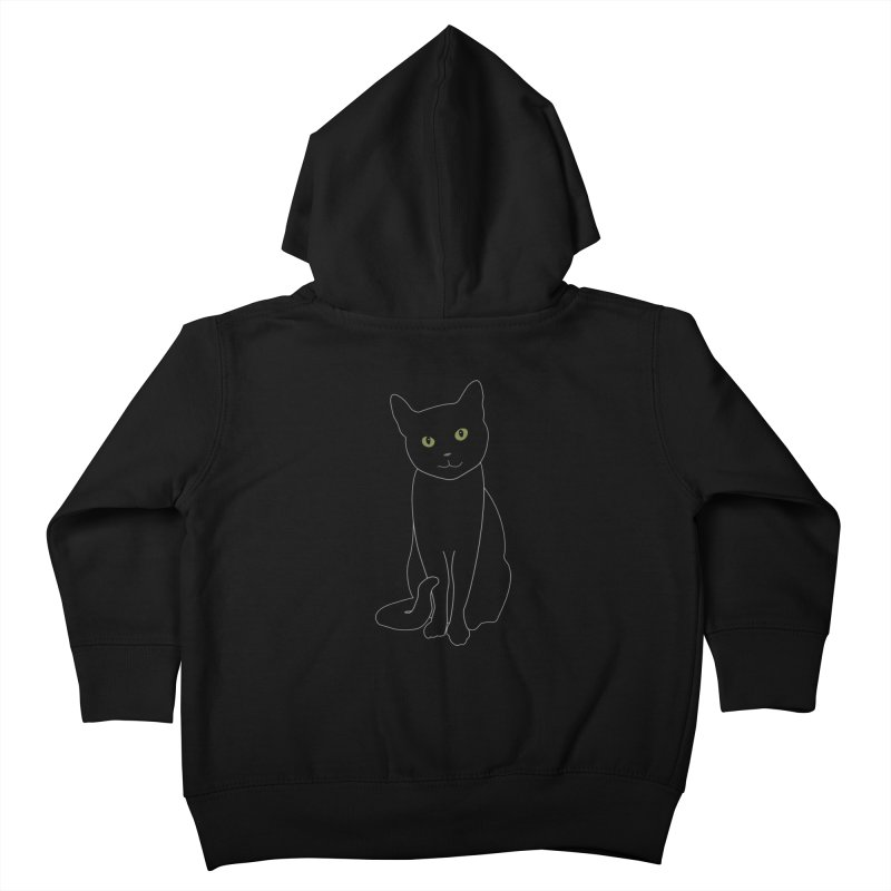 Black Cat with Green Eyes - Dark Apparel Kids Toddler Zip-Up Hoody by buxmontweb's Artist Shop