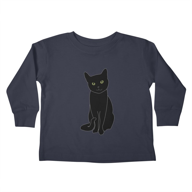 Black Cat with Green Eyes - Dark Apparel Kids Toddler Longsleeve T-Shirt by buxmontweb's Artist Shop