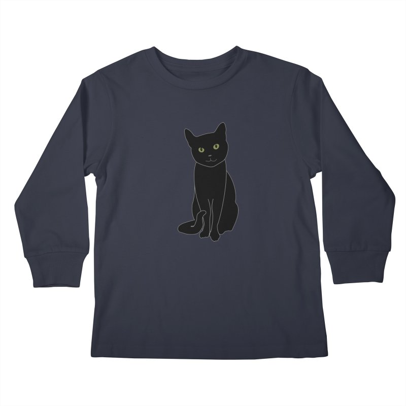 Black Cat with Green Eyes - Dark Apparel Kids Longsleeve T-Shirt by buxmontweb's Artist Shop