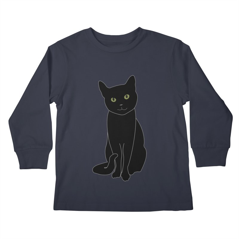 Black Cat with Green Eyes - Dark Apparel Kids Longsleeve T-Shirt by buxmontweb's Artist Shop