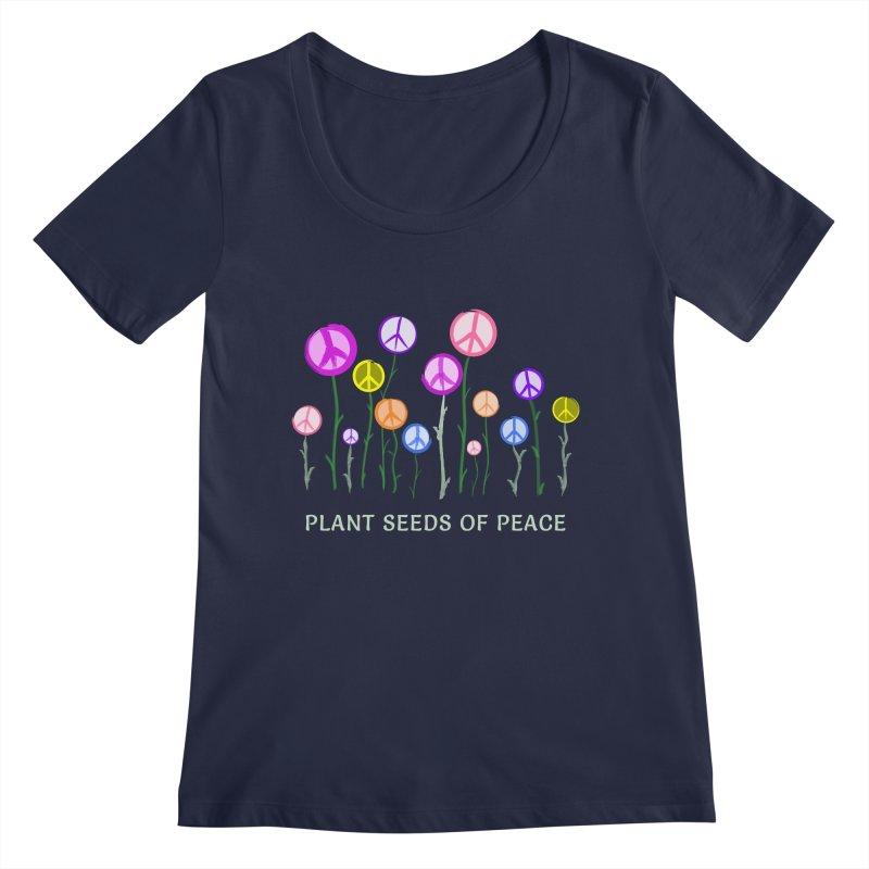 Plant Seeds of Peace - Dark Background Women's Regular Scoop Neck by buxmontweb's Artist Shop