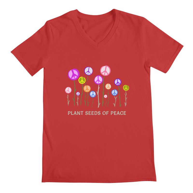 Plant Seeds of Peace - Dark Background Men's Regular V-Neck by buxmontweb's Artist Shop