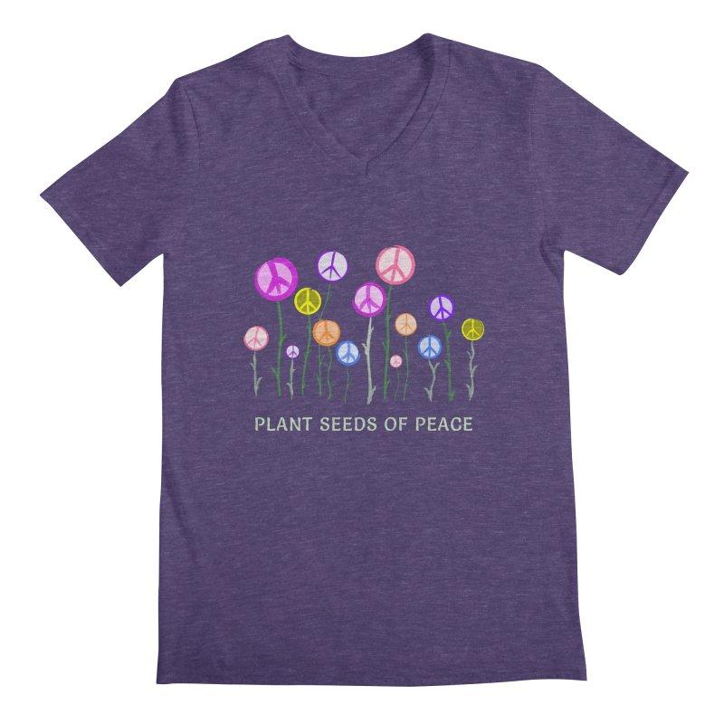 Plant Seeds of Peace - Dark Background Men's Regular V-Neck by buxmontweb's Artist Shop