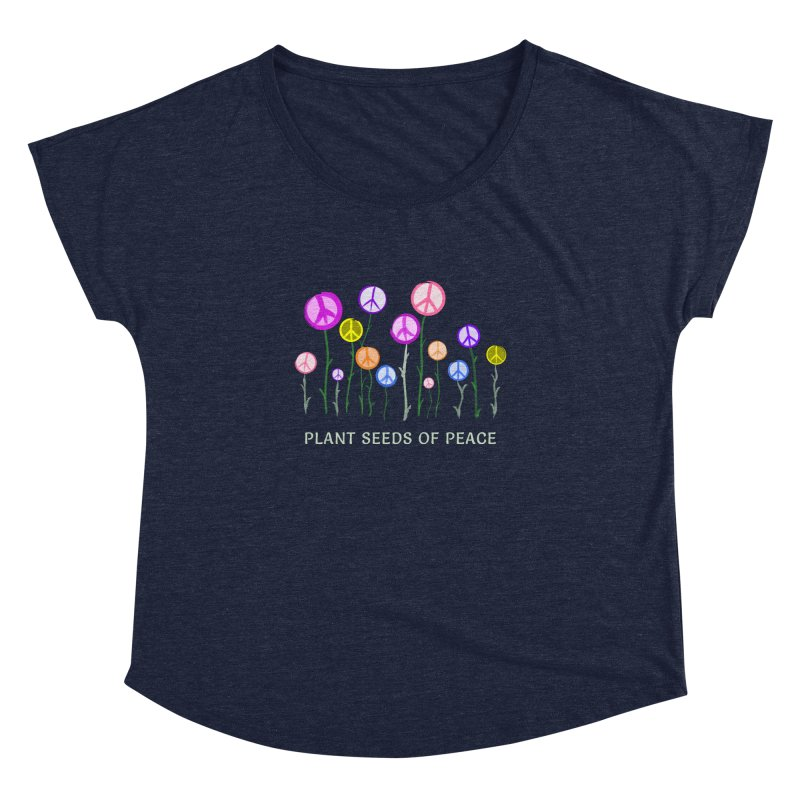 Plant Seeds of Peace - Dark Background Women's Scoop Neck by buxmontweb's Artist Shop