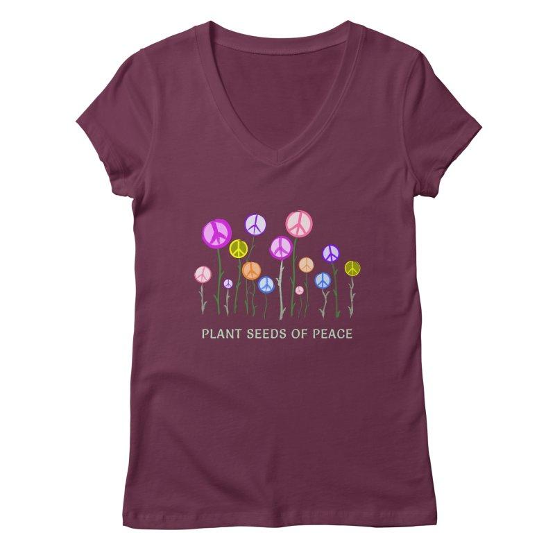 Plant Seeds of Peace - Dark Background Women's Regular V-Neck by buxmontweb's Artist Shop