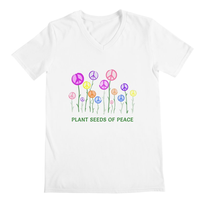 Plant Seeds of Peace - Light Background Men's Regular V-Neck by buxmontweb's Artist Shop