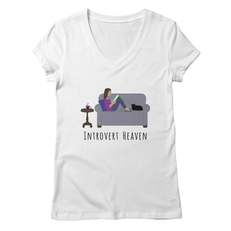 Introvert Heaven - Light Background Women's Regular V-Neck by buxmontweb's Artist Shop