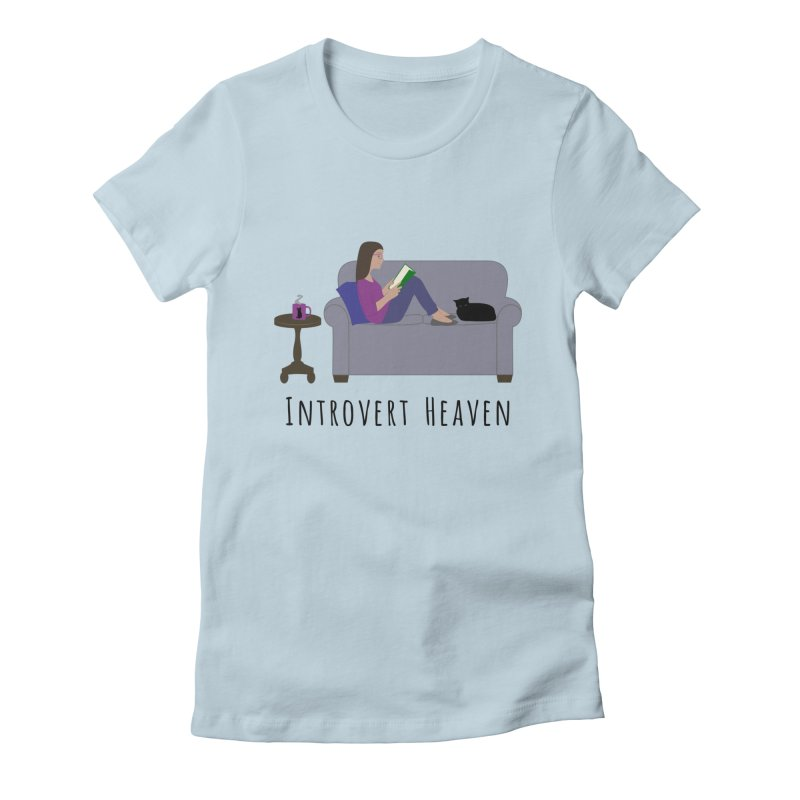 Introvert Heaven - Light Background Women's Fitted T-Shirt by buxmontweb's Artist Shop