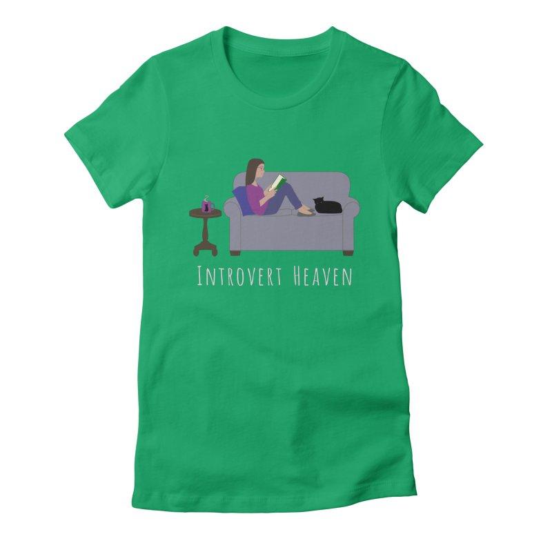Introvert Heaven - Dark Background Women's Fitted T-Shirt by buxmontweb's Artist Shop