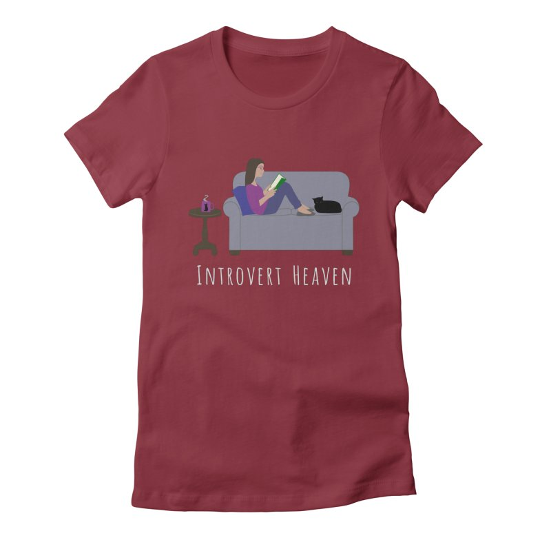 Introvert Heaven - Dark Background Women's Fitted T-Shirt by buxmontweb's Artist Shop