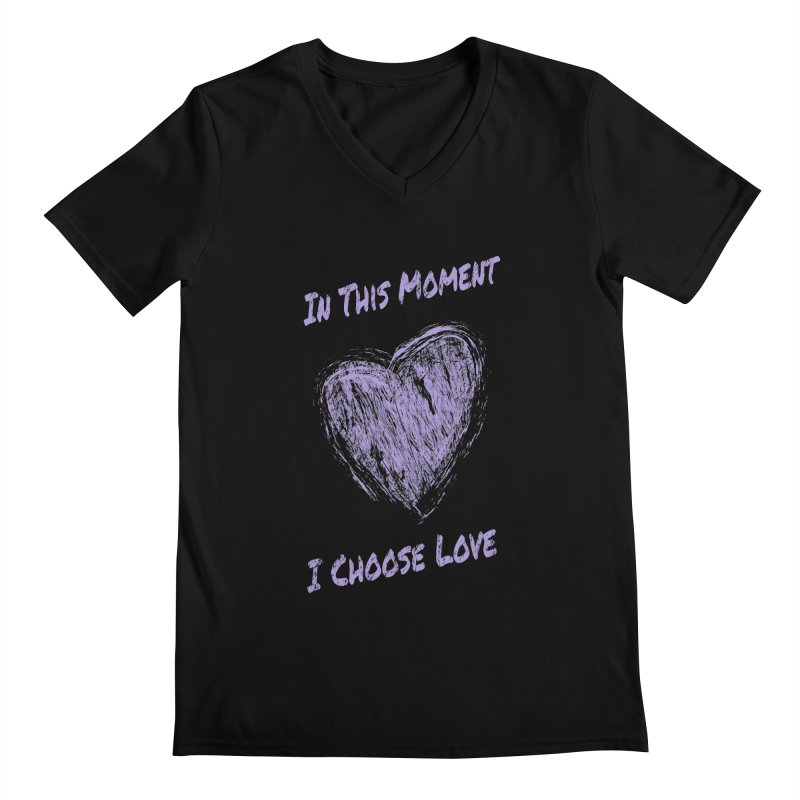 I Choose Love - Dark Background Men's Regular V-Neck by buxmontweb's Artist Shop