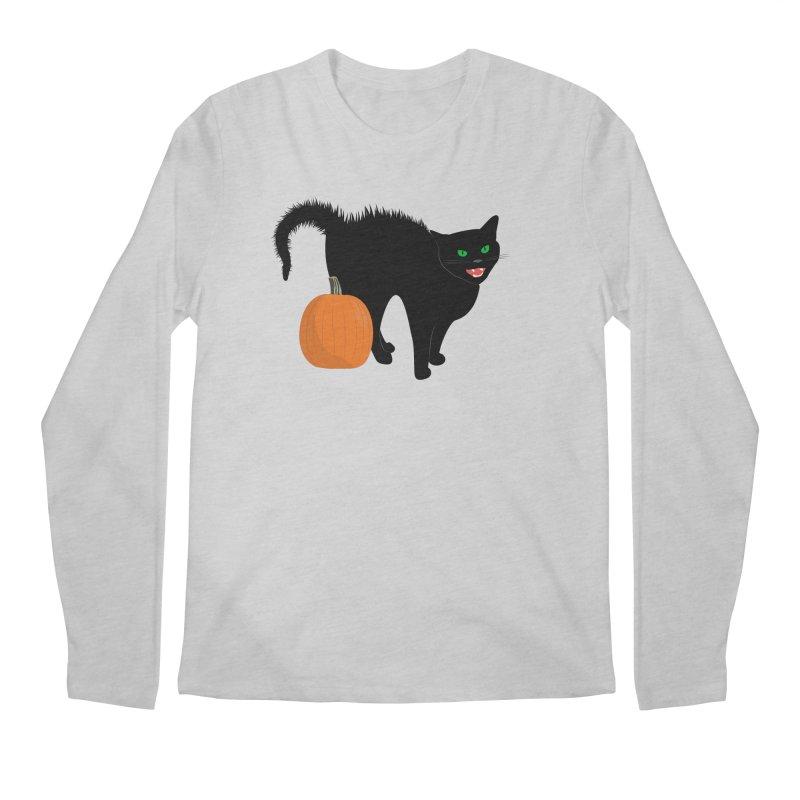 Halloween Cat Men's Regular Longsleeve T-Shirt by buxmontweb's Artist Shop