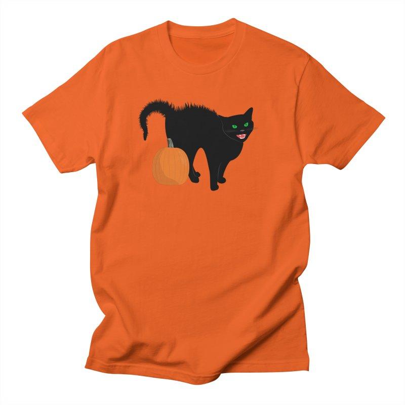 Halloween Cat Women's Regular Unisex T-Shirt by buxmontweb's Artist Shop