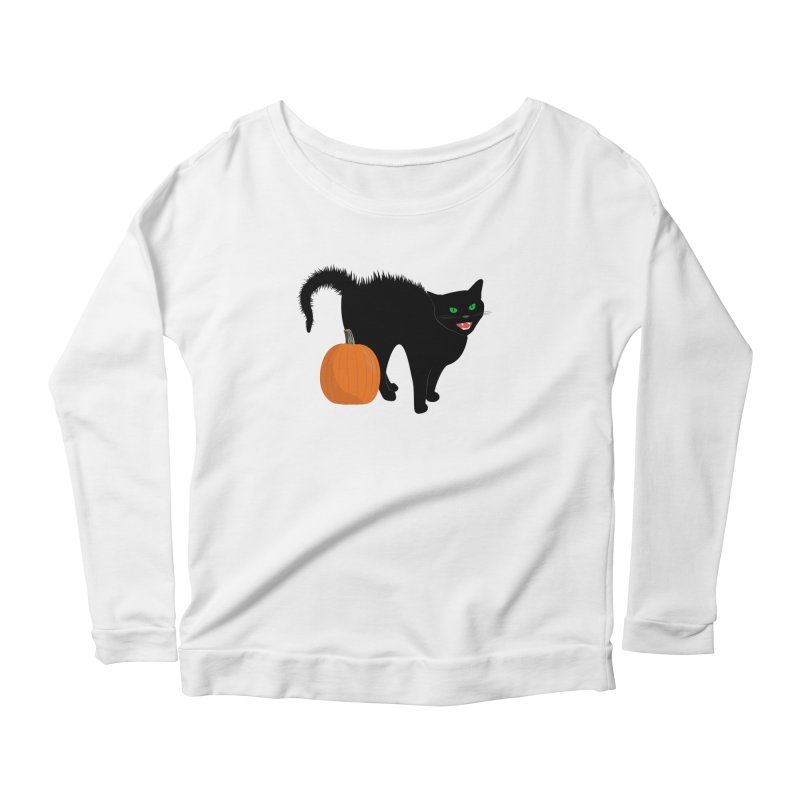 Halloween Cat Women's Scoop Neck Longsleeve T-Shirt by buxmontweb's Artist Shop