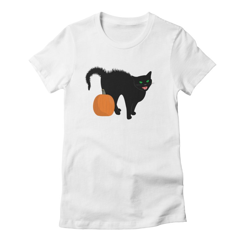 Halloween Cat Women's Fitted T-Shirt by buxmontweb's Artist Shop