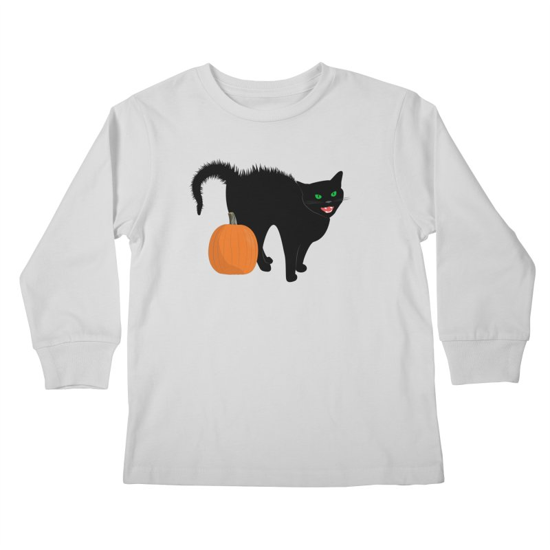 Halloween Cat Kids Longsleeve T-Shirt by buxmontweb's Artist Shop