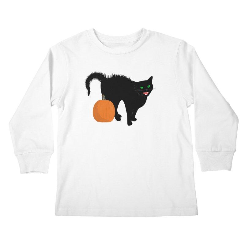 Halloween Cat Kids Longsleeve T-Shirt by buxmontweb's Artist Shop