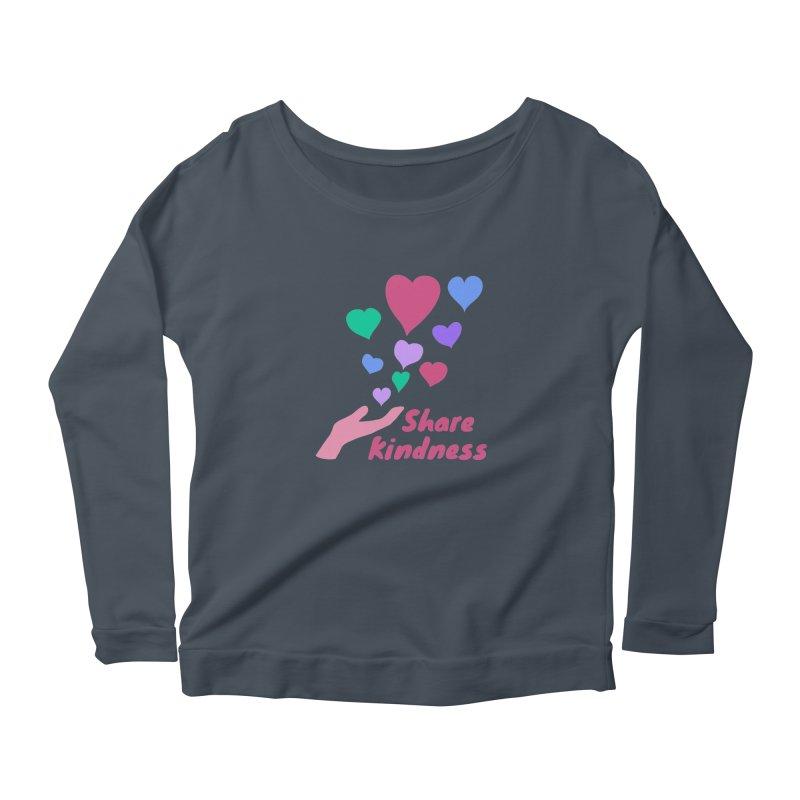 Share Kindness Women's Scoop Neck Longsleeve T-Shirt by buxmontweb's Artist Shop