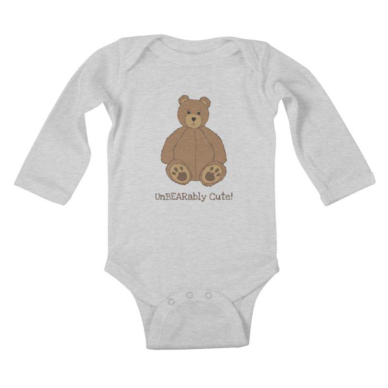 """Teddy Bear """"UnBEARably Cute!"""" Kids Baby Longsleeve Bodysuit by buxmontweb's Artist Shop"""