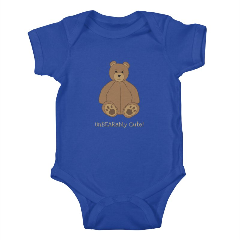 "Teddy Bear ""UnBEARably Cute!"" (Dark) Kids Baby Bodysuit by buxmontweb's Artist Shop"